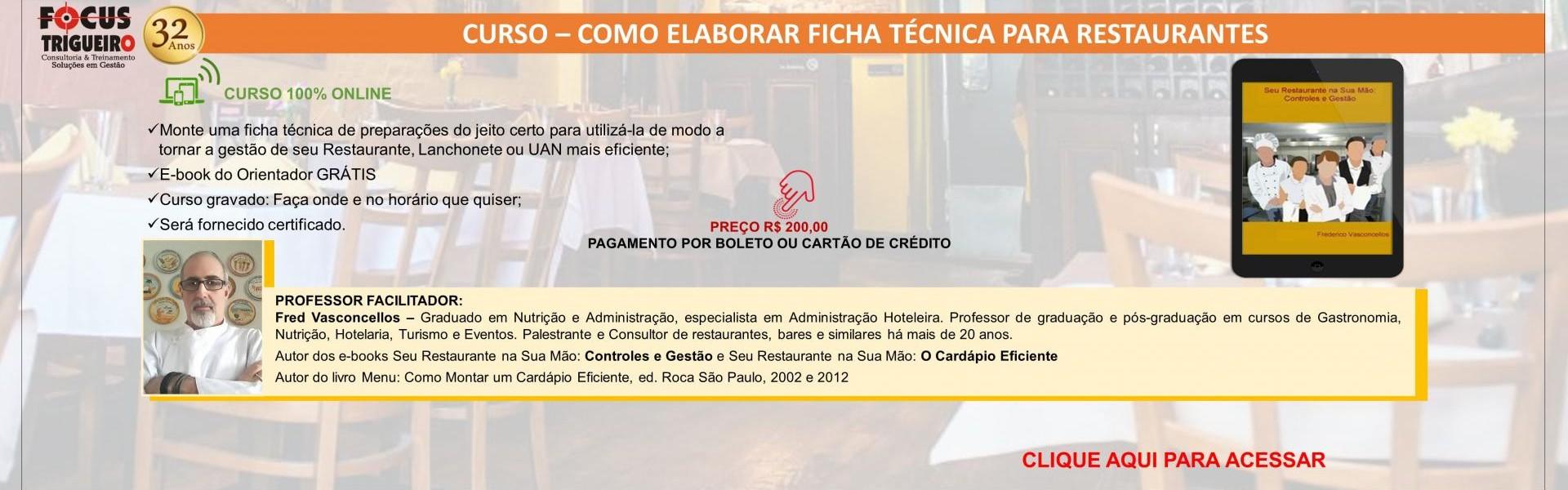 CURSO – COMO ELABORAR FICHA TÉCNICA PARA RESTAURANTES