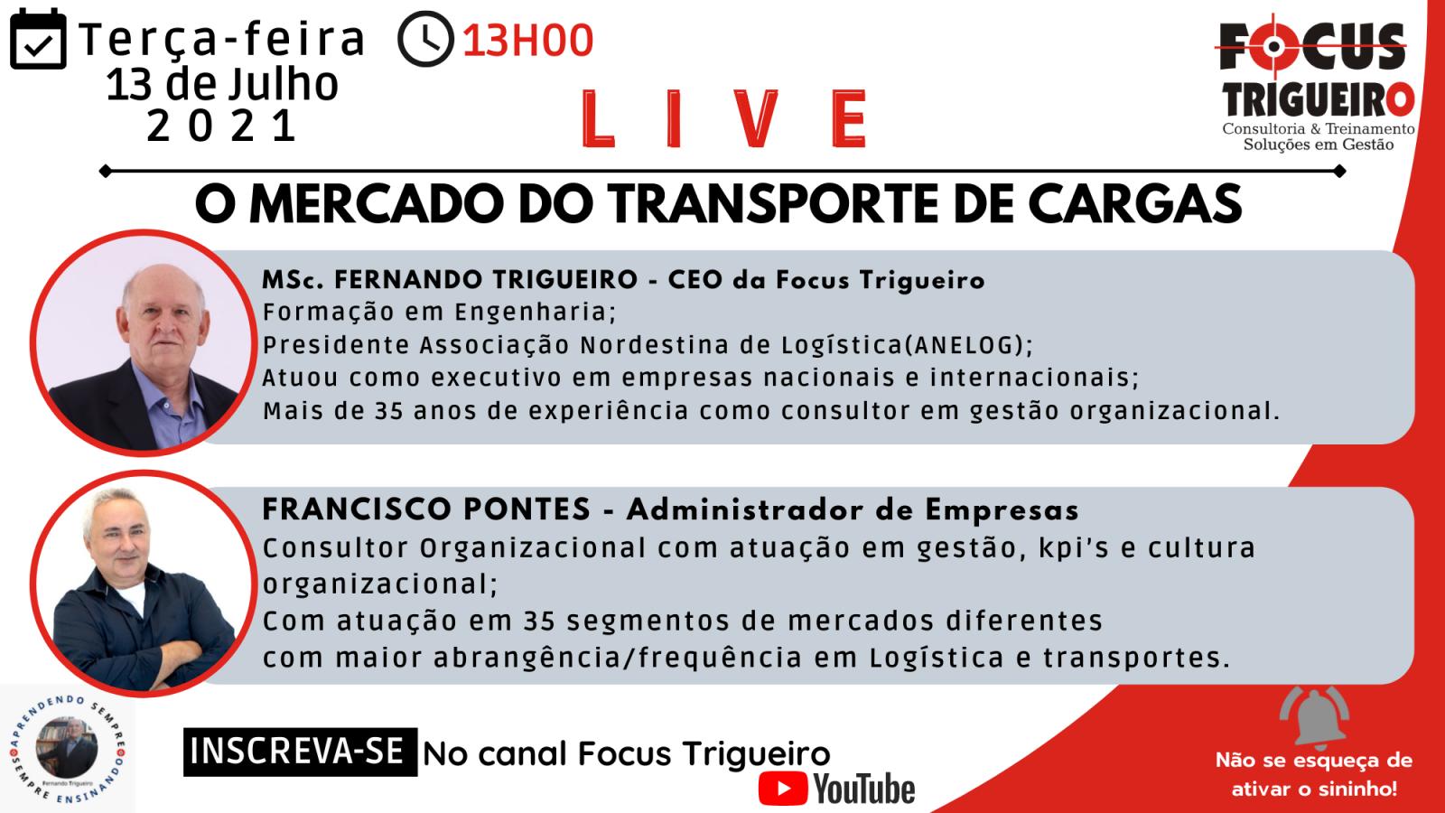LIVE - O MERCADO DO TRANSPORTE DE CARGAS(13/08/2021)
